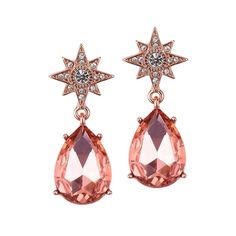 Celestial Stars Earrings with Bold Teardrops in Rose Gold-Earrings-Here Comes The Bling™