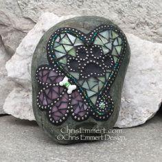 Green Heart w/ Pink Flower, Black Paw Print - Garden Stone, Pet Memorial Mosaic Rocks, Stone Mosaic, Paw Print Crafts, Pet Memorial Stones, Mosaic Garden, Garden Stones, Pet Memorials, Ball Chain, Pink Flowers