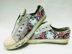 """Ed Hardy """"Dedicated to the one I love"""" Graphic Sneaker Shoes size 10 18LR202M"""