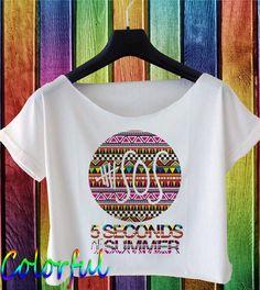 5 seconds of summer shirt 5 sos shirt 5sos logo masked with aztec pattern crop top CF5SOS-25