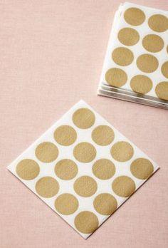 polka dot cake cream gold napkins - Google Search