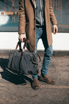 Our Rugged Canvas Weekender Bag with Leather Straps/ Large Duffel Bag/ Beige / Gray / Overnight Bag/ Travel Tote/ Zip Top  Let your