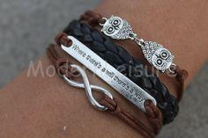 Owl jewlery Owl bracelet black bracelet braid braceletinfinity bracelet charm bracelet gift for women jewelry leather bracelet by ModernLeisure on Etsy
