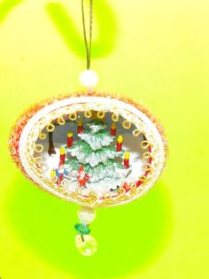 Vintage Diorama Egg Christmas Tree Ornament Candles Snow Glitter Collectible
