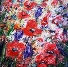 Impasto Oil Painting Flowers Original Art on Canvas by LUIZAVIZOLI