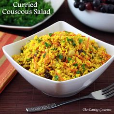 curried curry couscous salad recipe healthy vegetables garbanzo beans grains herbs carrots raisins dressing