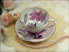 Purple Lilies Bone China Teacup and Saucer Set by TinyandBeautiful, $21.00