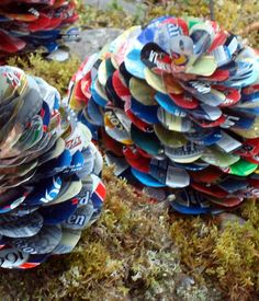 Pine cones made of beer cans spray paint and use as yard art