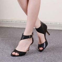 Leather Fish Mounth Heel Sandals