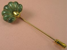 Vintage Stick Pin Gold tone Lucite Jade Lapel Hat by avintagejewel.