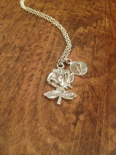 Rose Initial Necklace by kimsjewelry on Etsy, $16.00