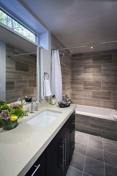 Master bathroom: Walker Zanger Travertine stone tile,Caesarstone Quartz countertop in Desert Limestone.I like the horizontal tile element in this bath Modern Bathroom Tile, Bathroom Renos, Bathroom Renovations, Small Bathroom, Bathroom Ideas, Master Bathrooms, Neutral Bathroom, Bathroom Pictures, Bath Ideas