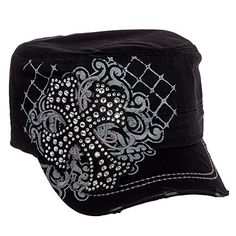 233eaa7a09c Crystal Case Womens Cotton Rhinestone Cross Cadet Cap Hat Caps Hats
