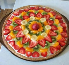FRUIT PIZZA 1/2 cup butter 3/4 cup sugar 1 egg 1/2 tsp. baking soda 1 tsp cream of tartar 1 3/4 cup flour 1- 8 oz. pkg cream cheese 1/4 cup honey or agave nectar 2 Tbsp Orange/Pineapple juice 1 cup Cool Whip Fresh fruit for topping Preheat your oven to 350°. In a bowl, beat butter, sugar, and egg until fluffy. Add baking soda, cream of tartar, and flour. Mix until well combined. It should be the consistency of a soft cookie dough. Press dough onto Pampered Chef Large Round Stone. Bake for 15…