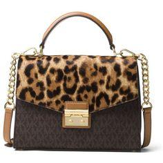 Michael Michael Kors  Sloan Satchel ($328) ❤ liked on Polyvore featuring bags, handbags, michael michael kors purse, brown satchel purse, satchel handbags, satchel bags and michael michael kors bags