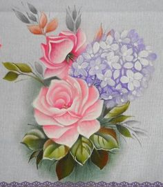 Artes da Katitah - Pano de prato Rosas 1