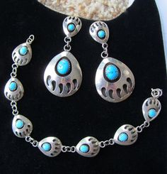Vintage Bear Paw Native American Indian SET Bracelet and TURQUOISE Dangling Earrings Stamped Sterling Silver SJ