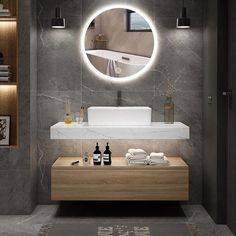 Combining an aura of minimalism and multifunctional style on a grand scale, this wall-mounted vanity set is versatile enough to fit many bathroom styles. The rectangular vessel sink is integrated on the faux marble countertop for a flawless aesthetic Bathroom Layout, Bathroom Interior Design, Bathroom Ideas, Bathroom Designs, Tile Layout, Interior Decorating, Bathroom Inspo, Bath Ideas, Decorating Ideas
