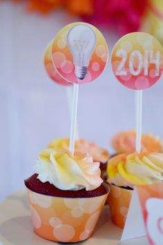 Bright Future themed graduation party for a Girl via Kara's Party Ideas KarasPartyIdeas.com Cake, decor, printables, favors, etc! #graduationparty #girlygraduationparty #lightbulb (12)