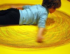Make a giant Spirograph on the floor with your kids - fascinating art!!