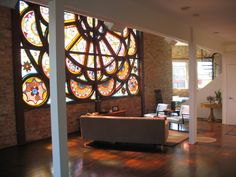 Loft unit (church conversion) Oh to have this beautiful stained glass window in your own home!!!!!!