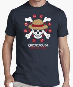 Diseño para camiseta de chico MUGIWARA KAIZOKU. Bandera pirata de la tripulación Sombrero de paja, del anime One Piece. - Tienda La Tostadora, por Cristina Valero