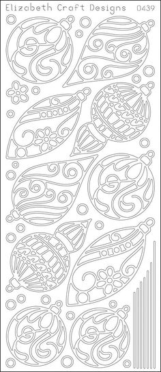 Christmas Ornaments Peel-Off Stickers-Silver