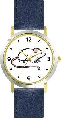 White Mouse Animal - WATCHBUDDY® DELUXE TWO-TONE THEME WATCH - Arabic Numbers - Blue Leather Strap-Size-Children's Size-Small ( Boy's Size & Girl's Size ) WatchBuddy. $49.95