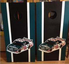 Dale Earnhardt Jr Custom Made Corn hole Boards - These Cornhole boards are handcrafted, hand painted and custom made for each of our customers and meet the Cornhole Association specifications. Free set of cornhole bags are also provided for $199.99. We can do them for any driver, just email us as we love to do custom pieces.  We can do any team, theme, sport  or wedding style. Contact us at www.fscustomcraftcreations.com
