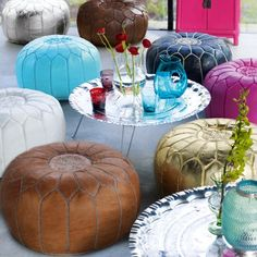 Moroccan Leather Pouffes! Great for extra seating or as a footstool. £129.00 #footstool #pouffes