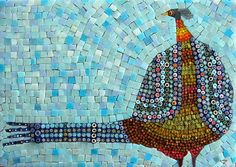 Mosaic Birds:  birds, sea glass, colored tiles