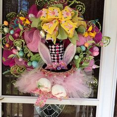 Easter Bunny Hat Wreath by WreathsEtc on Etsy