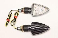 Stalk LED Turn Signals Lights - Carbon - Amber Bulbs - HONDA CBR 600, F2, F3, F4, F4i, SUZUKI GSXR 600, 750, 1000, 1300, YAMAHA R6, R1, KAWASAKI Ninja 250, 500, ZX6R, ZX7R, ZX9R, ZX10R, ZX12R, ZX14 for Sale At Low Price