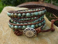 African Turquoise 4X Wrap Bracelet with Sun Star by HungOutOnAWire, $35.00
