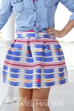 sew a pleated mini skirt with this easy sewing tutorial     women's pleated skirt DIY