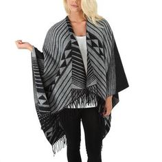 LA Double 7 Juniors Printed Striped Fringed Blanket Wrap