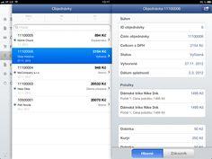 prehľad objednávok a detail objednávky - iPad