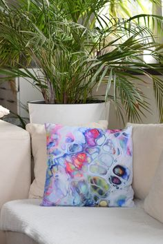 Colorful Cushion Decorative Pillow, Contemporary Decor, Abstract Art Pillow, Based on Original Fluid Painting, Rainbow Colors Acrylic Pouring Techniques, Colourful Cushions, Contemporary Decor, Rainbow Colors, Decorative Pillows, Print Design, Polish, Colours, Colorful