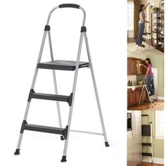 3 Step Stool Folding Ladder Leg Tip Strong Heavy Duty Steel Office Kitchen Home #Cosco #Modern