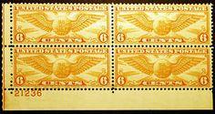 #C19 Air Post 6c Dull Orange 1934 VF Plate # Block 4 MNH - Visit http://stores.ebay.com/Little-Art-Treasures or LittleArtTreasures.com