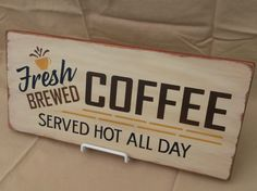 Wooden Fresh Brewed Coffee Sign, Orange, Handcrafted
