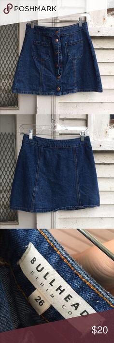 Denim button down skirt Denim Mid wash Jean button down skirt mini Alexa Chung PacSun Skirts Mini