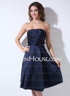 Bridesmaid Dresses - $67.49 - A-Line/Princess Sweetheart Knee-Length Satin Bridesmaid Dress With Ruffle Flower(s) (007006365) http://jenjenhouse.com/A-Line-Princess-Sweetheart-Knee-Length-Satin-Bridesmaid-Dress-With-Ruffle-Flower-S-007006365-g6365