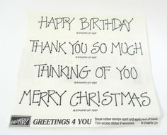 Stampin UP! Greetings 4 You Set of 4 Rubber Stamps Happy Birthday Thank You More #StampinUP #Words