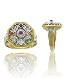 Chandra Moon God Ring in Sterling Silver with 14K Gold Plate - Vedic Astrology Chandra Hindu Lunar God Jewelry