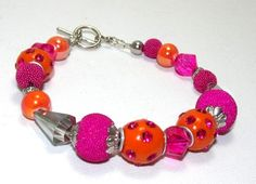 Orange & Hot Pink Bracelet With Rhinestones