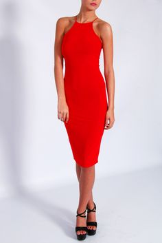 Red Cross Back Midi Dress From Rare London