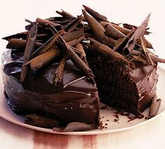 Ultimate chocolate cake - except use half the sugar, and half milk and half dark chocolate for the ganache