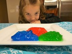 GAK-- equal parts clear Elmer's glue and liquid starch--a few drops of your favorite color of food coloring, mix and enjoy.