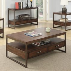 Coaster Furniture Wood Coffee Table with 2 Drawers - 704308